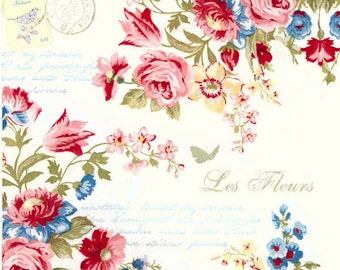 4 Decoupage Paper Napkins   French Roses and Postmark  Rose Napkins   Floral Napkins   Postmark Napkins   Paper Napkins for Decoupage