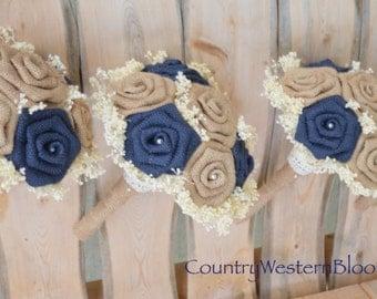 Navy Burlap Bouquet, Bridesmaid Burlap Bouquet, Burlap Bouquet, Rustic Wedding Bouquet, Wedding Bouquet, Navy Burlap, Small Bouquet