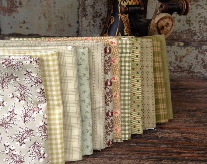 Featured listing image: Fabric: FAT QUARTER Sampler Bundle Shades of Green Selection - Lecien/Windham/Marcus Fabrics