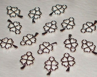10 Tiny Tibetan Silver 4-Leaf Clover Charms
