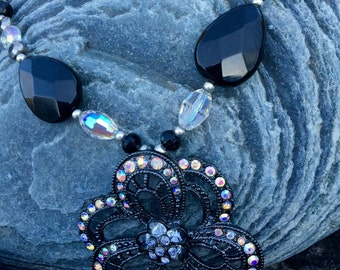 Black onyx and hematite necklace set