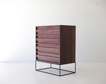 walnut mid century modern dresser, modern dresser, modern walnut dresser, solid wood dresser