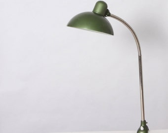 Clamp lamp Kaiser Lampen, vintage, green varnish, mid century, Germany