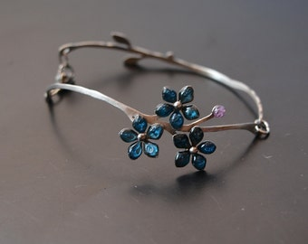 Stainless steel Bracelet forget-me-not