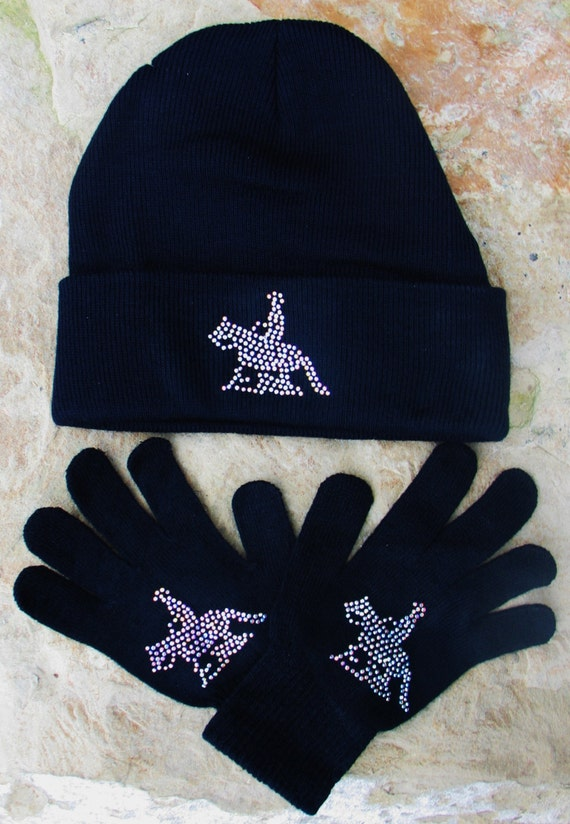Reiner Horse Beanie and Glove Set, Knit Beanie, Knit Gloves, Winter Hat, Reining Horse