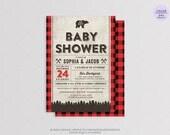 Lumberjack Baby Shower Invitation Card - DIY Printable Digital File - Plaid Camping, Woodland Invitation, It's a boy