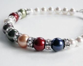 Mothers Pearl Bracelet - Birthstone Pearl Bracelet - Toggle Bracelet - Swarovski Pearl and Rhinestone Bracelet - Gift for Mom - Gift for Her