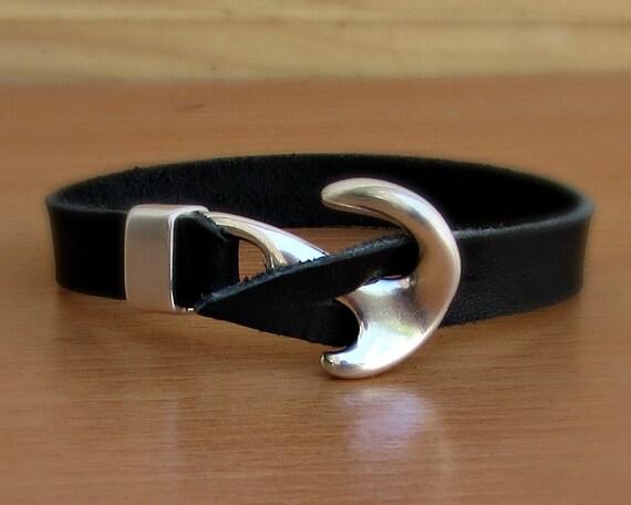 Anchor Bracelet Mens Leather bracelet Cuff Nautical Bracelet Vegetable Tanned Leather Bracelet  Customized On Your Wrist