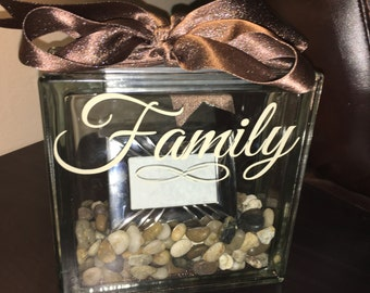 "Family ""Rocks"" Glass Block Picture Frame"