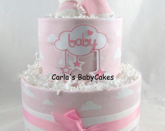 Girl diaper cake | Pink diaper cake | Baby diaper cake | Baby shower gift | Baby sprinkle decoration | Unique baby gift | New mom gift