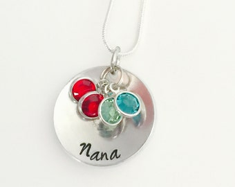 Nana necklace  , special - mom pendant  necklace with Swarovski Birthstones- Mothers necklace - family necklace - childrens necklace