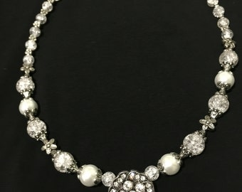 Rhinestone, Glass & Pearl Necklace** FREE SHIPPING**