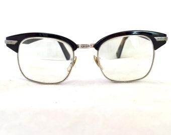 Vintage Horn Rimmed Black 1/10 12K GF Frames, 50's Horn Rim Prescription Ladies Eyeglasses, Mid Century Eyewear Glasses Plastic Geek Chic