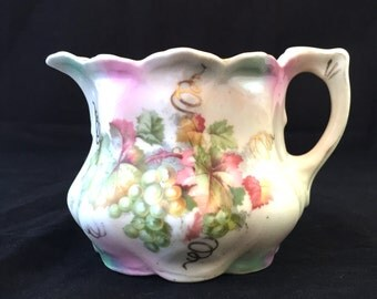 Leuchtenburg Germany Hand Painted Creamer, Ruffled Scalloped Edge, White Creamer with Pink and Green Grapes, Grape Leaves, Green Castle Logo