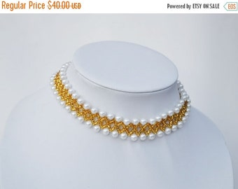 Sale White Collar Necklace, Beaded collar necklace
