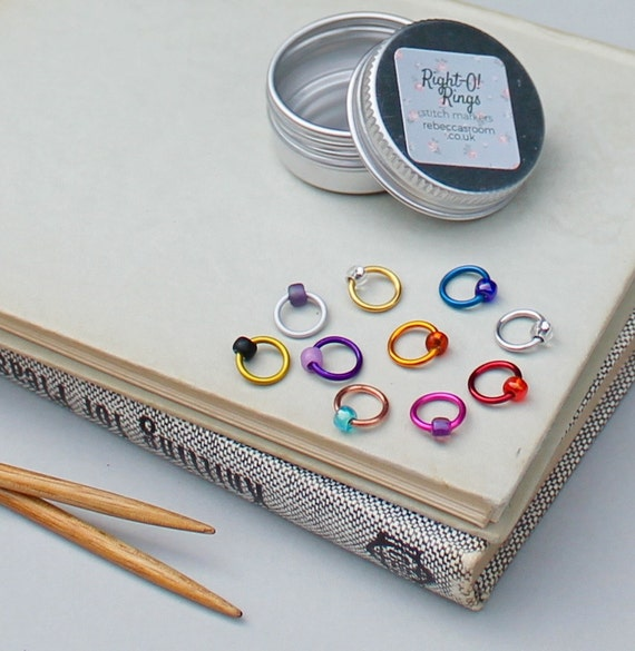 Knitting Markers Uk : Stitch markers knitting harlequin set with tin