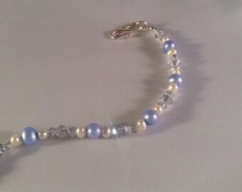 Blue Freshwater Pearl and Swarovski Crystal Bracelet