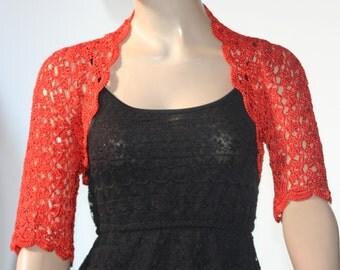 Weddings crochet bolero/ shrug red silk