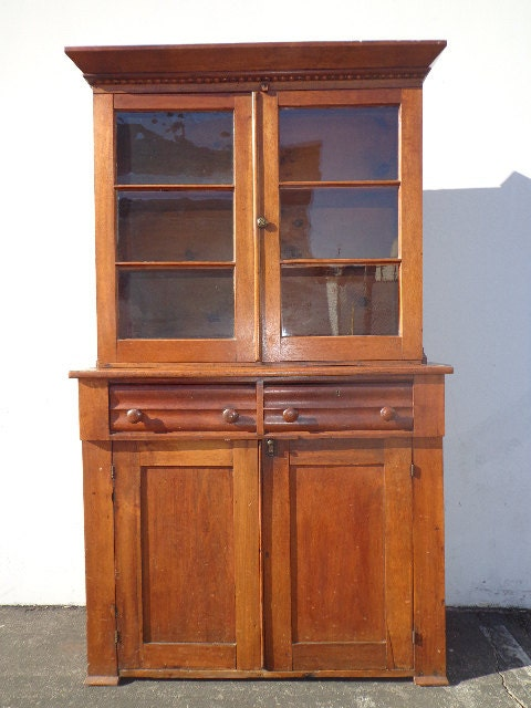 Antique 1850's Hutch Cabinet Sideboard Primitive Shaker Walnut Wood China  Cabinet French Provincial Country Vintage Buffet Console Server - Antique 1850's Hutch Cabinet Sideboard Primitive Shaker Walnut