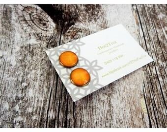 Amber Bronze Earrings/cabochonearrings/trendingjewellery/modernearrings/olive/amber/studearrings/glassearrings/giftideas/giftforher