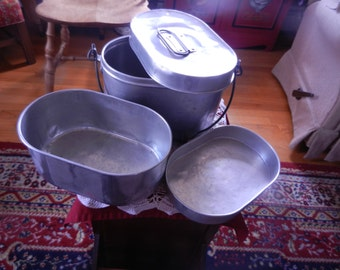Aluminum lunch box - with tray inserts - vintage 1950
