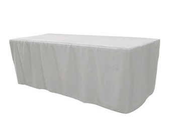 8 FT Fitted Rectangular Polyester Tablecloth White