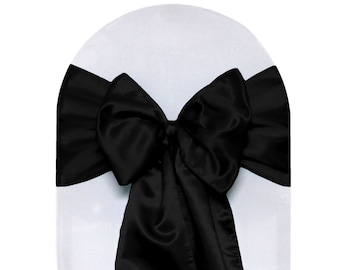 Black Satin Chair Sashes (Pack of 10) | Wholesale Wedding Chair Sashes