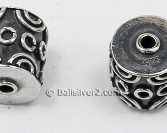 Bali Beads Sterling Silver Barrel Round  Beads  12 x x 11  mm Beads.  # 1732  Ornate Bali Silver Beads