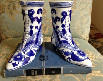 Blue Chinoiserie Boots Bookends/Vases