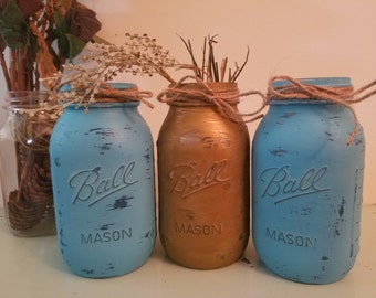 Distressed Gold and Blue Mason Jar, Painted Mason Jar, Wedding, Baby Shower