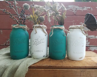 SALE! Mason Jar Decor, Painted Mason Jar, Wedding decor, Baby Shower decorations, multicolor mason jars, Rustic decor, Fall Decor