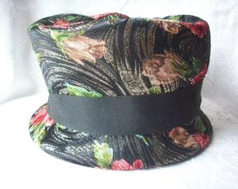 Vintage Floral Hat, Multi Colored with Gold Metallic Threads and Black Ribbon