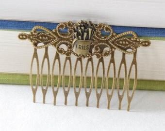 Fries Hair Accessories, Fries Hair Clip, Fries Hair Comb, French Fries Comb, French Fries Hair Clip, Food Hair Combs, Junk Food Hair Clip