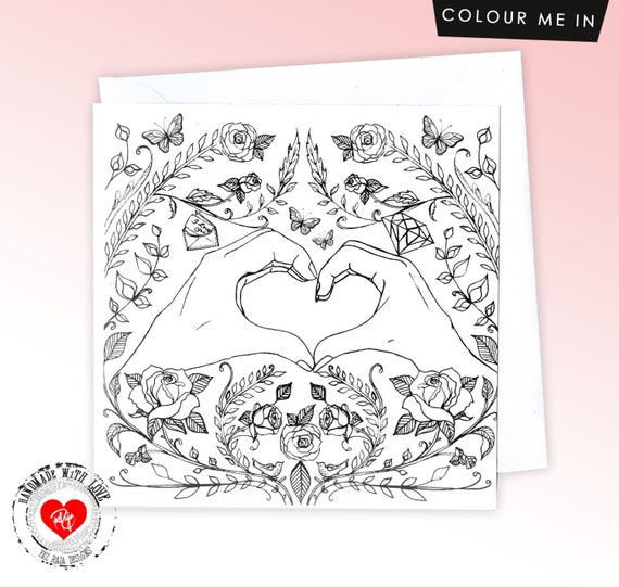 Hand Heart Colour Me In Card - Valentines Day