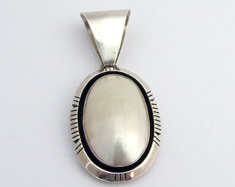 SaLe! sALe! Mother of Pearl Navajo Pendant Sterling Silver
