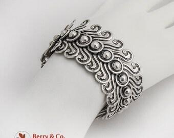 Modernist Wide Ornate Articulated Bracelet Sterling Silver Mexico