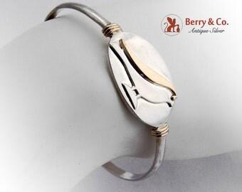 M and J Savitt Bird Cuff Bracelet Sterling Silver 14 K Gold Signed 1970