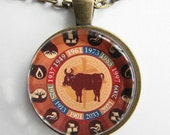 CHINESE YEAR of the OX Necklace -- Chinese Zodiac for him and her, Chinese New Year, Astrological birthday present, Zodiac art