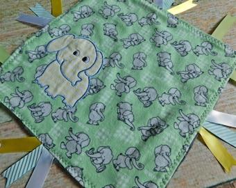 Baby Sensory Blanket – Ribbon Blanket – Ribbon Blankie – Minky Sensory Blanket - Sensory Blanket with Elephant Applique