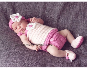 Sundress photo set. Sundress set.0-3 months.Easter Sundress set. Pink dress set. Crochet Sundress photo set. Crochet Diaper cover dress set.