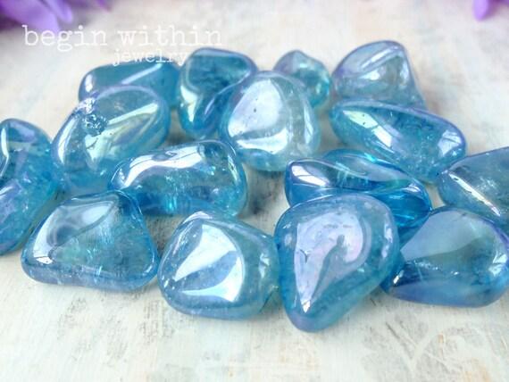 AQUA AURA QUARTZ Tumbled Loose Gemstone Crystal / For Energy Healing, Reiki, Crystal Healing