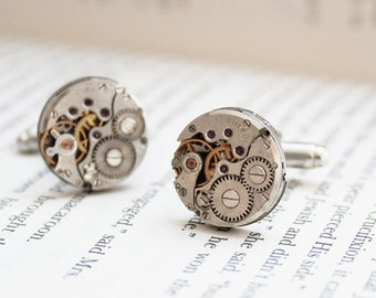 Cufflinks Steampunk Cuff links Clock cufflinks Clockwork Cufflink mechanical cufflinks Gift for Men Father of the Bride