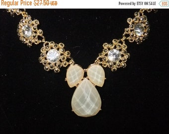 ON SALE Champagne & Crystal Necklace