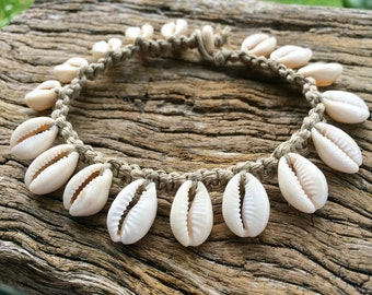 Hand Made Hemp Macrame Anklet with Cowrie Shells, Bohemian Gypsy