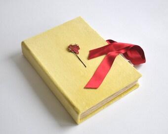 OOAK velvet journal notebook blank book sketchbook diary oldschool notebook, diary yellow journal notebook, first diary, flower guest book