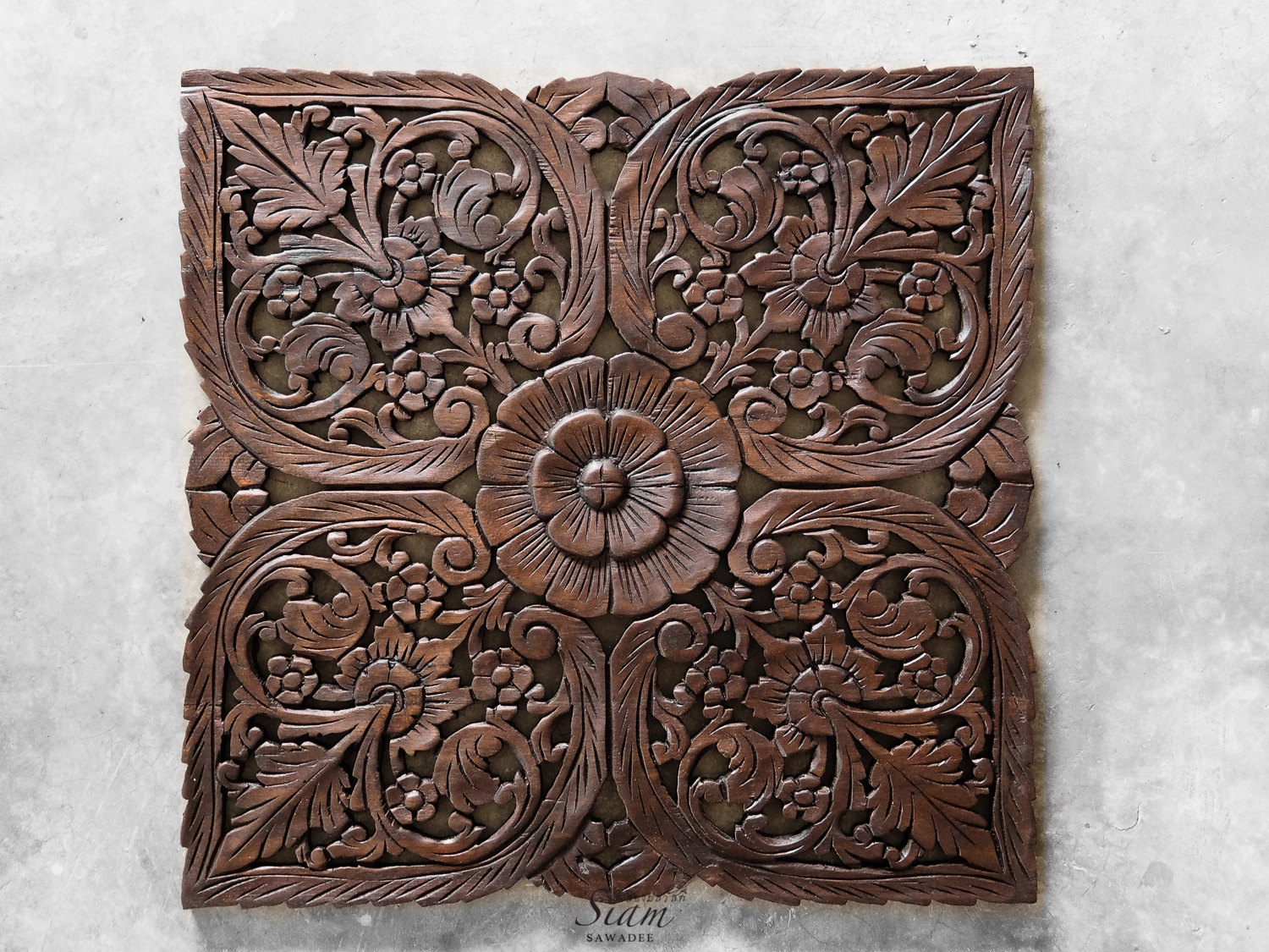 Wood Wall Hanging. Hand Carved Teak Wall Art Decor. Relief Carving. Perfect for Dinning Room, Living Room & Bedroom (2'x2' ft. Dark brown)