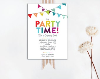 INSTANT DOWNLOAD birthday invitation / bunting invitation / rainbow birthday / rainbow bunting / rainbow party invite / DIY invite