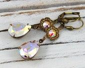 Aurora Borealis Drops - vintage style antique brass and Swarovski crystal earrings - Sweet Adornments Collection