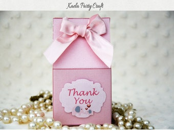 Pink And Gray Elephant Favor Box. Pink And Gray Elephant Baby Shower. Pink  And