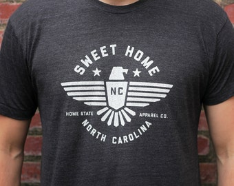 Sweet Home T-shirt: Charcoal Black w/ White Ink - Home State Apparel - Select States Available
